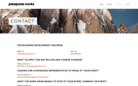 Screenshot of Contact Page patagoniaworks.com - CONTACT — Patagonia Works - captured July 11, 2016