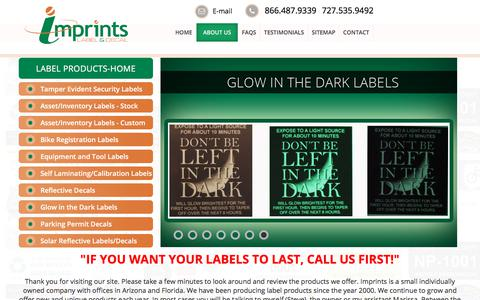 Screenshot of About Page imprints.com - Reflective, Tamper Evident, Inventory Labels & Decals - Imprints - captured Oct. 14, 2017