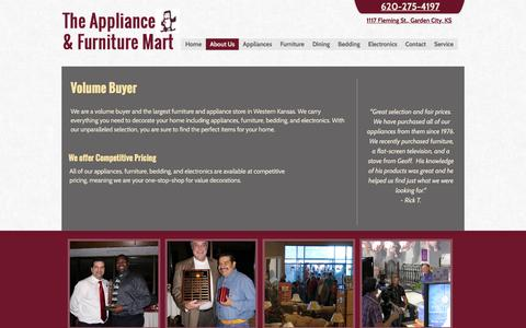Screenshot of About Page amartgc.com - About us. Largest furniture and appliance store around Garden City KS - captured Feb. 28, 2016