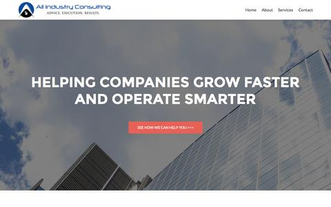 Screenshot of Home Page allindustryconsulting.com - All Industry Consulting - Helping Companies Grow Faster and Operate Smarter - captured June 17, 2015