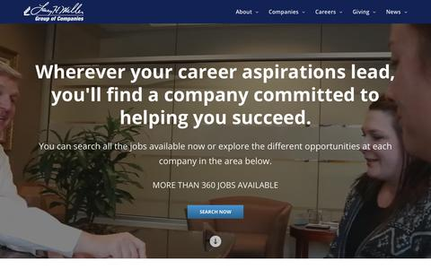 Screenshot of Jobs Page lhm.com - Career Opportunities | Larry H. Miller Group of Companies - captured June 26, 2017