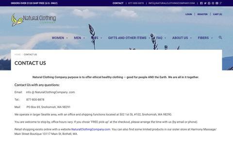 Screenshot of Contact Page naturalclothingcompany.com - Contact Us - captured Sept. 20, 2018