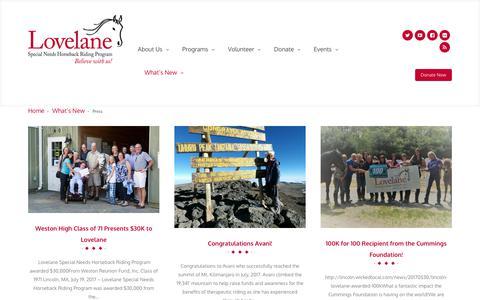 Screenshot of Press Page lovelane.org - Press > Lovelane - captured Sept. 11, 2017
