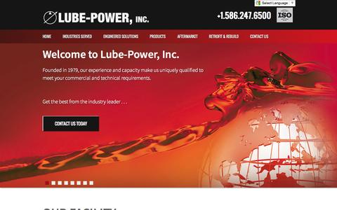 Screenshot of Home Page lubepower.com - Lube Power, Inc. - Home - captured Oct. 3, 2014
