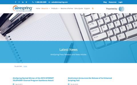 Screenshot of Press Page airespring.com - news | Category | AireSpring - captured Dec. 24, 2015