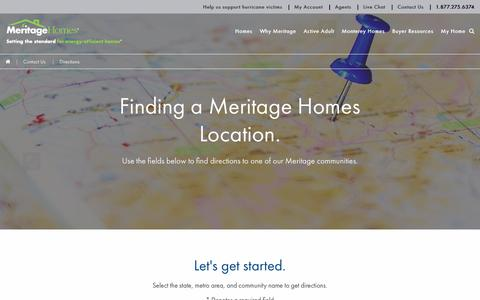 Screenshot of Maps & Directions Page meritagehomes.com - Directions to reach your community | Meritage Homes - captured Sept. 12, 2017
