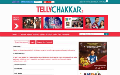 Screenshot of Signup Page tellychakkar.com - User account | Tellychakkar.com - captured Sept. 21, 2018