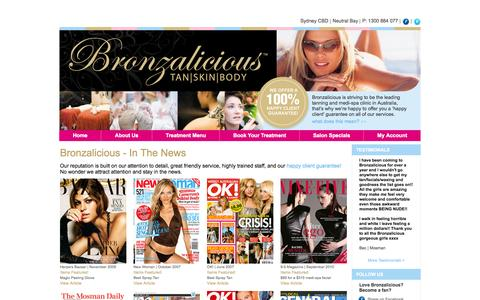 Screenshot of Press Page bronzalicious.com.au - In The News - captured Oct. 5, 2014