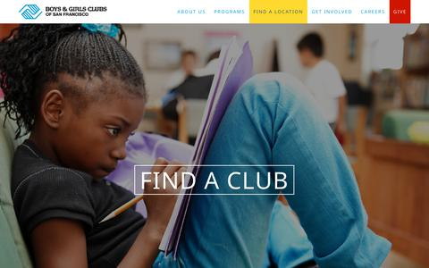Screenshot of Locations Page kidsclub.org - Find a Club | Boys & Girls Clubs of San Francisco - captured Oct. 6, 2018