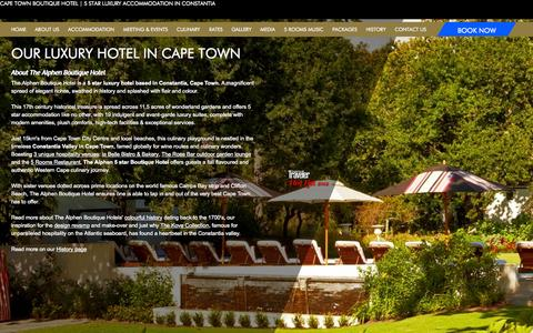 Screenshot of About Page alphen.co.za - 5 Star Luxury Hotel in Cape Town   Constantia Boutique Hotel - captured Nov. 5, 2014
