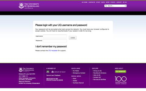 Screenshot of Login Page uq.edu.au - Please login with your UQ username and password - captured Oct. 29, 2014