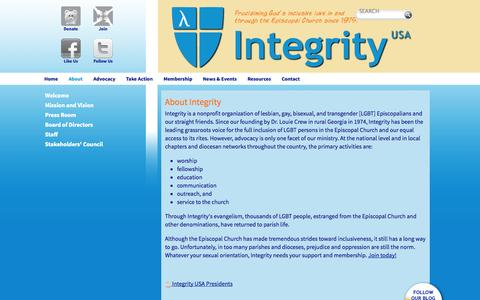 Screenshot of About Page integrityusa.org - About Integrity - captured Sept. 30, 2014