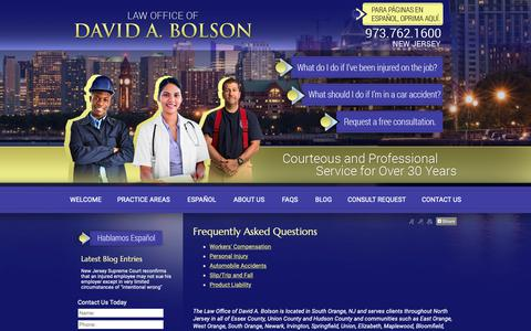 Screenshot of FAQ Page bolsonlaw.com - Frequently Asked Questions Newark Essex County NJ Lawyer Law Firm - captured Sept. 27, 2018