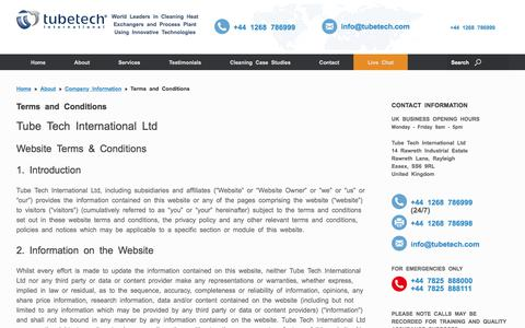 Screenshot of Terms Page tubetech.com - Terms and Conditions for Tube Tech International Website - captured Dec. 1, 2016