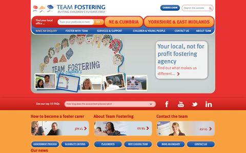 Screenshot of Home Page teamfostering.co.uk - Team Fostering | Not-For-Profit Fostering Agency | Foster Care in the North East, Yorkshire & East M - Team Fostering - captured Sept. 30, 2014