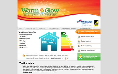 Screenshot of Testimonials Page warmglowheating.com - Gas Safe Registered Boiler Repair & Plumbers Bristol | WarmGlow Heating - captured Oct. 27, 2014
