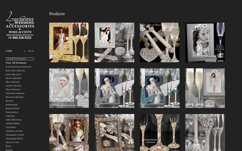 Screenshot of Products Page luxuriousweddingaccessories.com - Luxurious Wedding Accessories | Champagne Flutes | Cake Sets — Products - captured Nov. 23, 2018