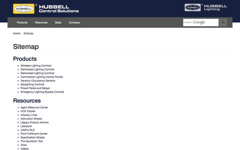 Screenshot of Site Map Page hubbell-automation.com - Hubbell Control Solutions - captured Feb. 1, 2016