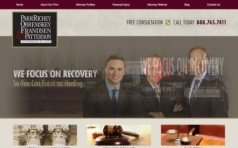 Screenshot of Home Page parrinjurylaw.com - Indianapolis Personal Injury Lawyer - Indiana Accident Attorney - Parr Richey Obremskey Frandsen & Patterson LLP - captured Jan. 25, 2016