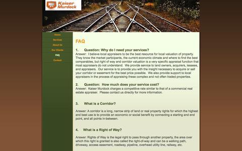 Screenshot of FAQ Page kaisermurdock.com - FAQ - Kaiser Murdock - captured Sept. 30, 2014