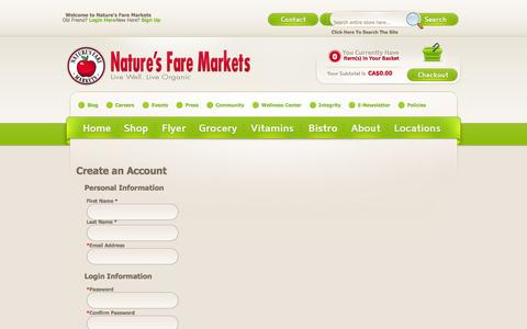 Screenshot of Signup Page naturesfare.com - Create New Customer Account - captured Nov. 5, 2014