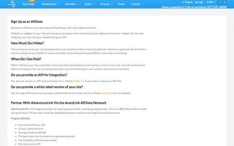 Screenshot of Signup Page adventurelink.com - Affiliates -- Sign Up - captured Feb. 5, 2016
