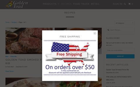 Screenshot of Press Page goldentoad.com - Recipes - Golden Toad - captured Dec. 15, 2018