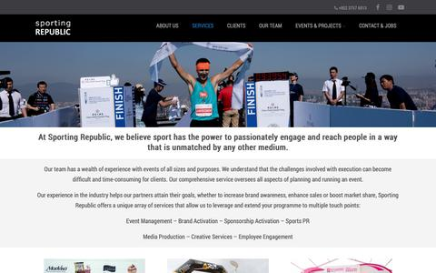 Screenshot of Services Page sportingrepublic.com - Services   Sports Management and Events Agency   Asia - captured Nov. 7, 2018