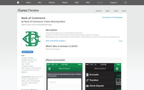 Screenshot of iOS App Page apple.com - Bank of Commerce on the App Store on iTunes - captured Nov. 3, 2014