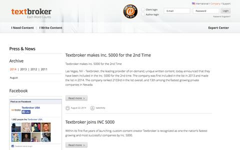 Screenshot of Press Page textbroker.com - Press Releases & News | Textbroker - captured Sept. 17, 2014