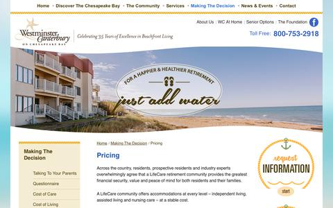 Screenshot of Pricing Page wcbay.com - Talking To Your Parents   Westminster-Canterbury on Chesapeake Bay - captured Oct. 20, 2017