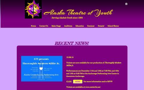 Screenshot of Home Page alaskatheatreofyouth.org - Home - captured Dec. 24, 2015