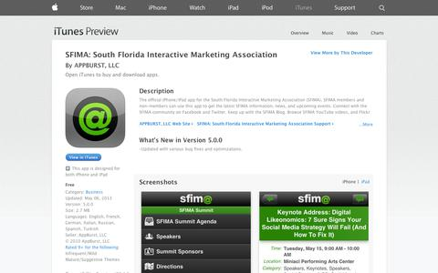 Screenshot of iOS App Page apple.com - SFIMA: South Florida Interactive Marketing Association on the App Store on iTunes - captured Oct. 25, 2014