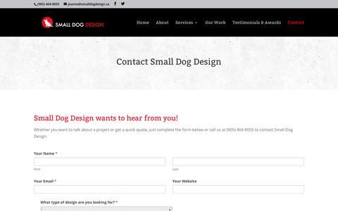 Screenshot of Contact Page smalldogdesign.ca - Contact Small Dog Design | Small Dog Design - captured July 23, 2016