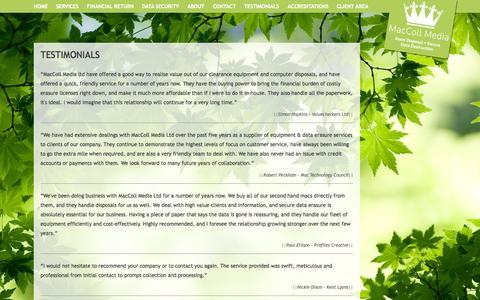 Screenshot of Testimonials Page maccollmedia.com - Testimonials - captured Oct. 4, 2014