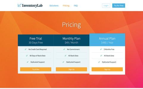 Screenshot of Pricing Page inventorylab.com - InventoryLab - Pricing - captured June 8, 2017