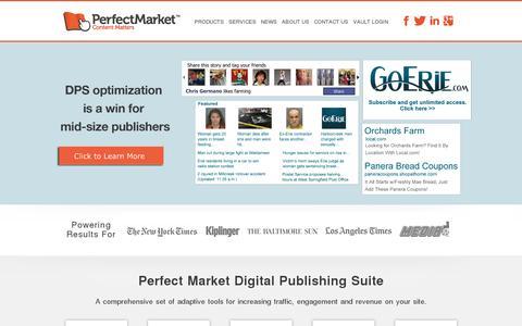 Screenshot of Home Page perfectmarket.com - Perfect Market - Digital Publishing Solutions | Perfect Market - captured July 11, 2014