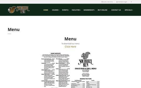 Screenshot of Menu Page squirrel-run.com - Squirrel Run Golf Club - captured June 24, 2016