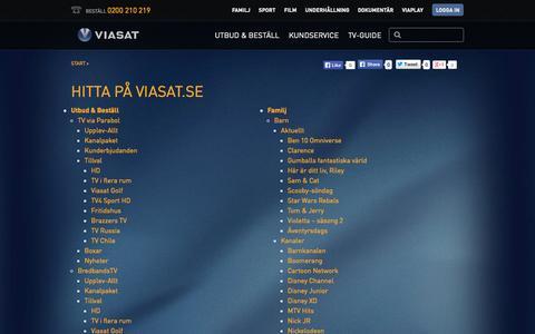 Screenshot of Site Map Page viasat.se - Hitta på Viasat.se - captured Oct. 26, 2014
