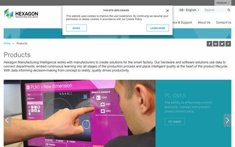 Screenshot of Products Page hexagonmi.com - Products | Hexagon Manufacturing Intelligence - captured Sept. 25, 2018