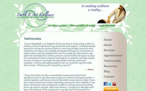 Screenshot of Testimonials Page earthandairwellness.com - Testimonials ◦ Walnut Creek & Pleasant Hill Acupuncture and Alternative Medicine ◦ Earth and Air Wellness - captured Sept. 27, 2014