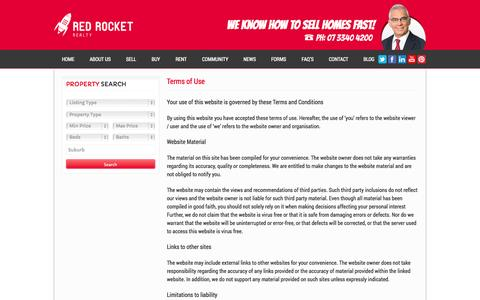 Screenshot of Terms Page redrocketrealty.com.au - Terms of Use | Red Rocket Realty - captured Oct. 1, 2014