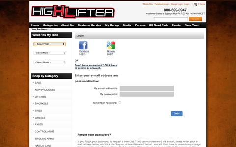 Screenshot of Login Page highlifter.com - High Lifter - The Leader In Custom After-Market ATV Accessories - captured Dec. 25, 2016