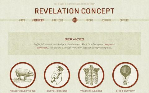 Screenshot of Services Page revelationconcept.com - Services | Revelation Concept - captured Sept. 23, 2014