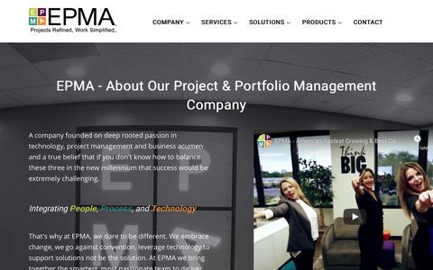 Screenshot of About Page epmainc.com - About Our Project and Portfolio Management Company | EPMA - captured Aug. 15, 2019