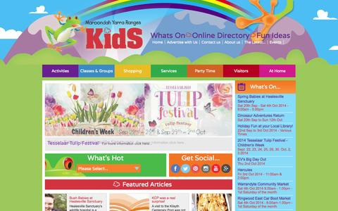 Screenshot of Home Page myrkids.com.au - Home - Maroondah Yarra Ranges Kids - captured Oct. 2, 2014