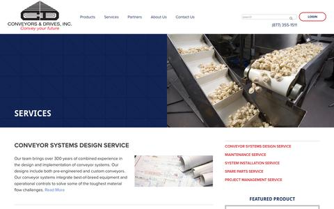 Screenshot of Services Page condrives.com - Design, Service and Installation of Conveyors | Conveyors & Drives - captured Sept. 29, 2018