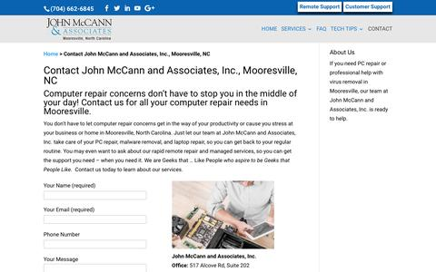 Screenshot of Contact Page Support Page mccannassociates.com - Contact John McCann and Associates, Inc., Mooresville, NC - captured Nov. 27, 2016