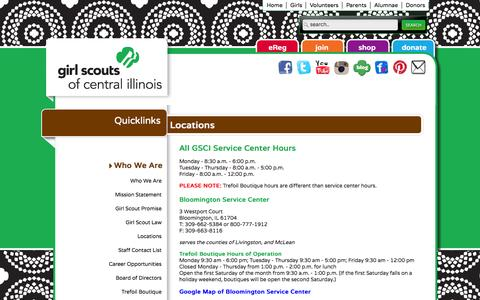 Screenshot of Locations Page getyourgirlpower.org - Girl Scouts of Central Illinois - captured Oct. 2, 2014