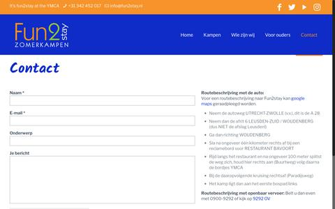 Screenshot of Contact Page fun2stay.nl - Contact – Fun2stay - captured Oct. 11, 2018